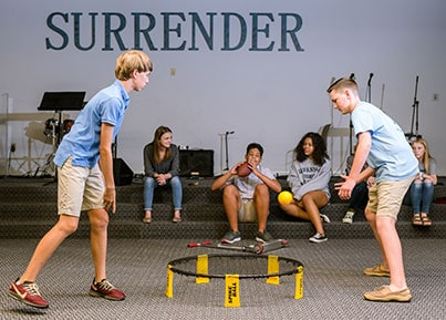 kids playing game at surrender youth ministry
